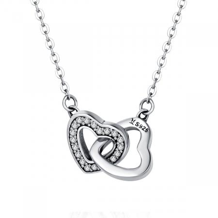 Colier argint inimioare inlantuite