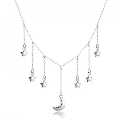 Colier argint Luna si Stelele