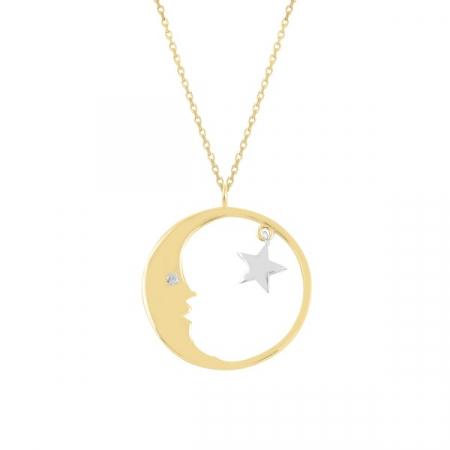 Colier argint Moon & Star cu zirconii placat cu aur