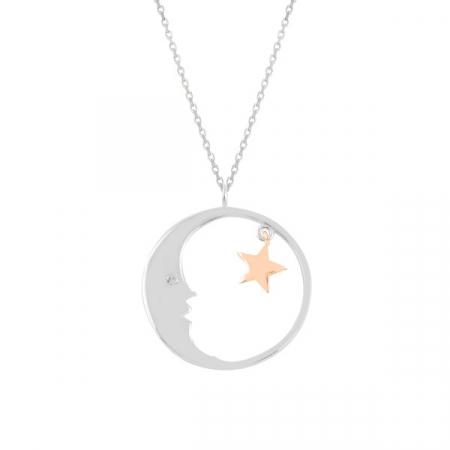 Colier argint Moon & Star cu zirconii placat cu rodiu