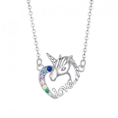 Colier argint placat cu platina cu pandantiv Unicorn si cristale colorate