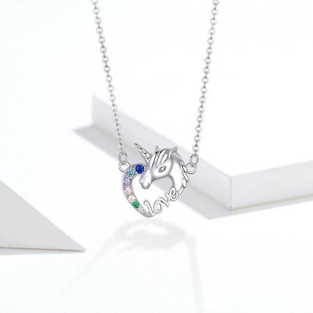 Colier argint placat cu platina cu pandantiv Unicorn si cristale colorate7