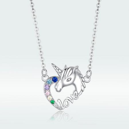 Colier argint placat cu platina cu pandantiv Unicorn si cristale colorate5