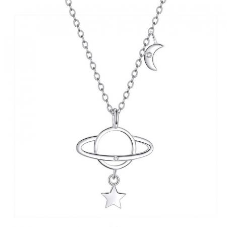 Colier argint Planeta cu Luna si Stea