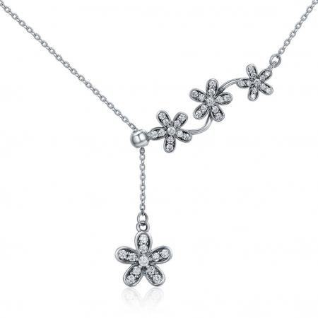 Colier argint reglabil cu flori si zirconii