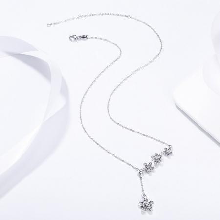 Colier argint reglabil cu flori si zirconii2