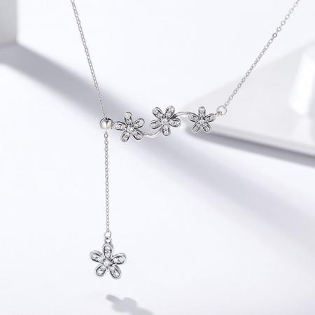 Colier argint reglabil cu flori si zirconii1