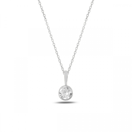 Colier argint rodinat cu zirconiu alb placat cu rodiu - CTU0101