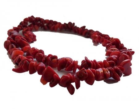 Sirag rosu cu pietre de coral 1 cm si 90 cm
