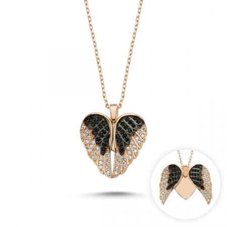Colier aripi de inger si inimioara cu zirconii albe si negre din argint placat cu aur roz  - CTU0091