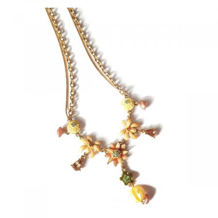 Colier auriu cu floricele maro