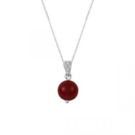 Colier cu sfera de agat roșu placat cu rodiu