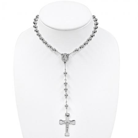 Colier ROZARIU Rosary din inox cu ionita si crucifix LSL02971
