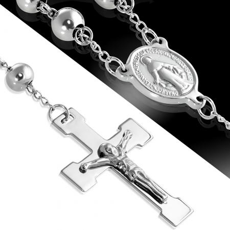 Colier ROZARIU Rosary din inox cu ionita si crucifix LSL0297