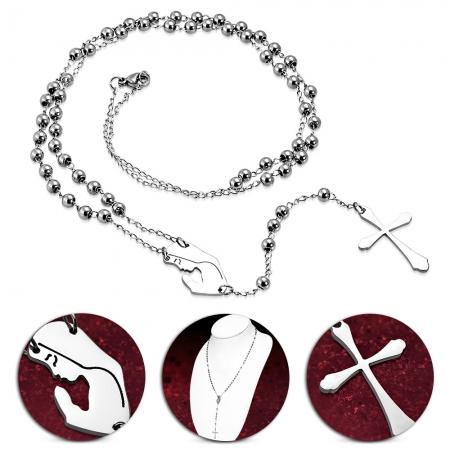 Colier ROZARIU Rosary din inox cu ionita si cruciulita LSL0326