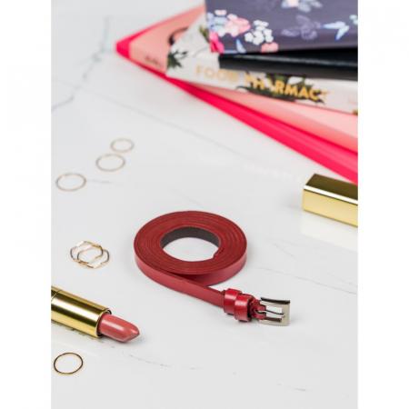 Curea Dama din piele naturala rosie CRLG106 - Latime 1 cm