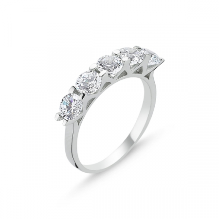 Inel argint 925 cu 5 zirconi albe