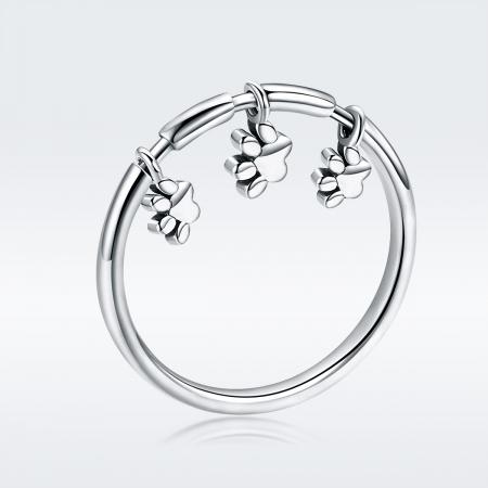 Inel argint 925 cu amprente labute catel - Be Nature IST0052 [4]