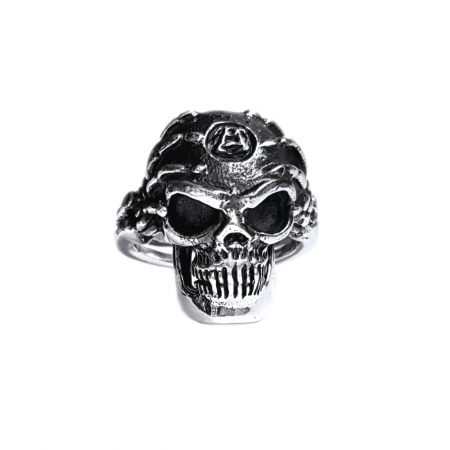 Inel argint 925 cu craniu, Hard rock