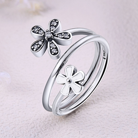 Inel argint 925 cu doua floricele si zirconii albe - Be Nature IST00264