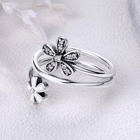 Inel argint 925 cu doua floricele si zirconii albe - Be Nature IST00262