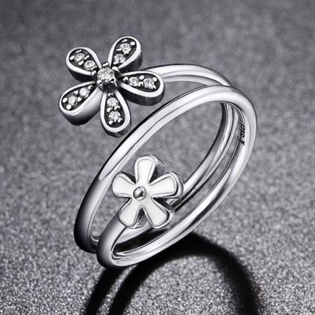 Inel argint 925 cu doua floricele si zirconii albe - Be Nature IST00261