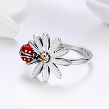 Inel argint 925 cu floare si gargarita- Be Lucky IST00421
