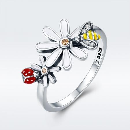 Inel argint 925 cu floare si gargarita - Be Lucky IST00462