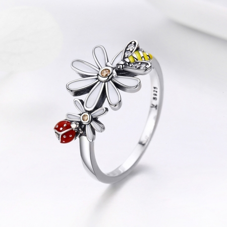 Inel argint 925 cu floare si gargarita - Be Lucky IST00463