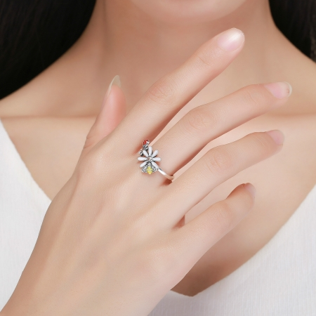 Inel argint 925 cu floare si gargarita - Be Lucky IST00465