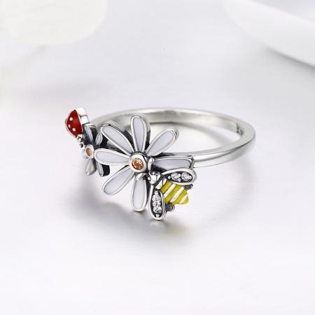 Inel argint 925 cu floare si gargarita - Be Lucky IST00461