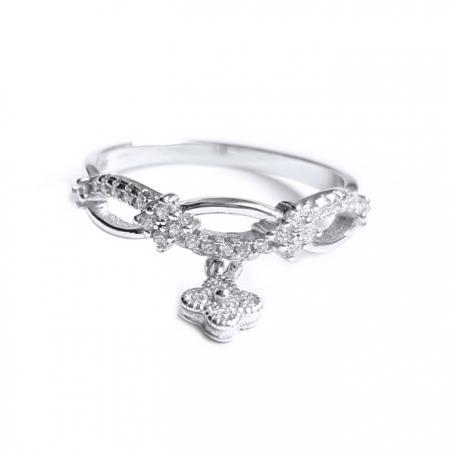 Inel argint 925 rodiat cu charm floare si zirconii albe0