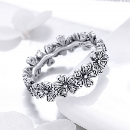Inel argint 925 cu floricele delicate si zirconii albe - Be Nature IST0059 [1]