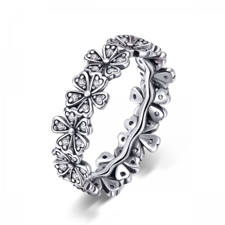 Inel argint 925 cu floricele delicate si zirconii albe - Be Nature IST0059