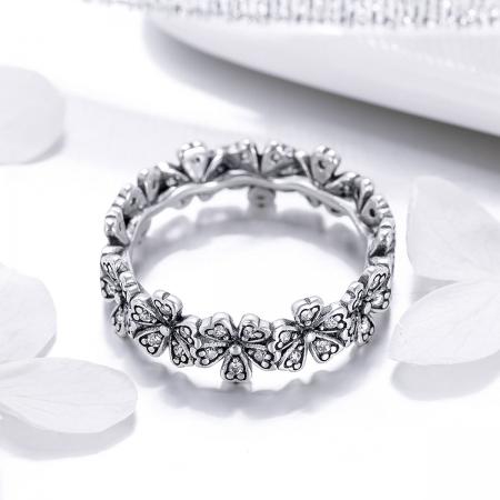 Inel argint 925 cu floricele delicate si zirconii albe - Be Nature IST0059 [2]