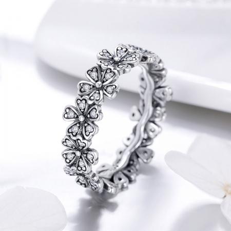 Inel argint 925 cu floricele delicate si zirconii albe - Be Nature IST0059 [3]