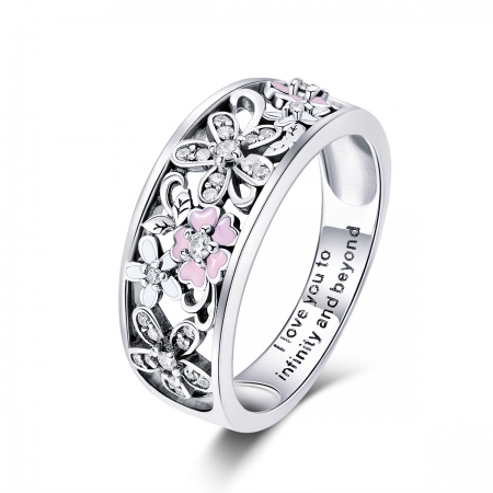 Inel argint 925 cu floricele - I love you to infinity and beyond - Be Nature IST0055