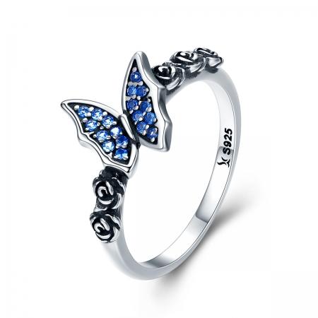Inel argint 925 cu floricele si fluturas albastru - Be Nature IST0043