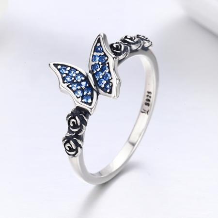 Inel argint 925 cu floricele si fluturas albastru - Be Nature IST00431