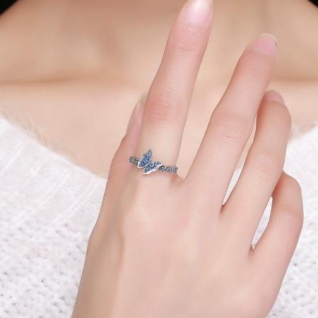 Inel argint 925 cu floricele si fluturas albastru - Be Nature IST00432
