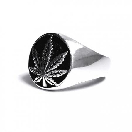 Inel argint 925 cu frunza de marijuana, Rebel Soul1