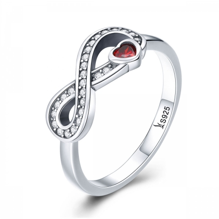 Inel argint 925 cu infinit si inimioara rosie - Infinite You IST0062
