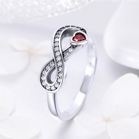 Inel argint 925 cu infinit si inimioara rosie - Infinite You IST00621