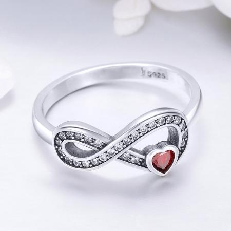 Inel argint 925 cu infinit si inimioara rosie - Infinite You IST00623