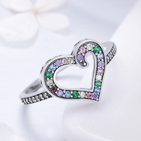 Inel argint 925 cu inimioara si zirconii multicolore - Be in Love IST00613