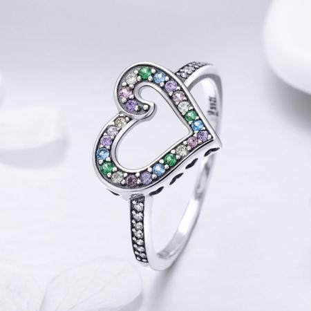 Inel argint 925 cu inimioara si zirconii multicolore - Be in Love IST00611