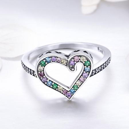 Inel argint 925 cu inimioara si zirconii multicolore - Be in Love IST00612