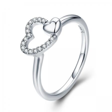 Inel argint 925 cu inimioare si zirconii - Be in Love IST0040