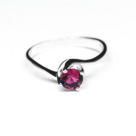 Inel argint 925 rodiat cu piatra roz