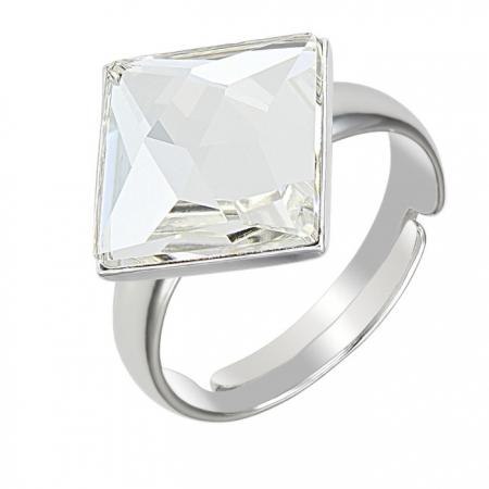 Inel argint 925 rodiat reglabil cu swarovski elements 10 mm Crystal Clear